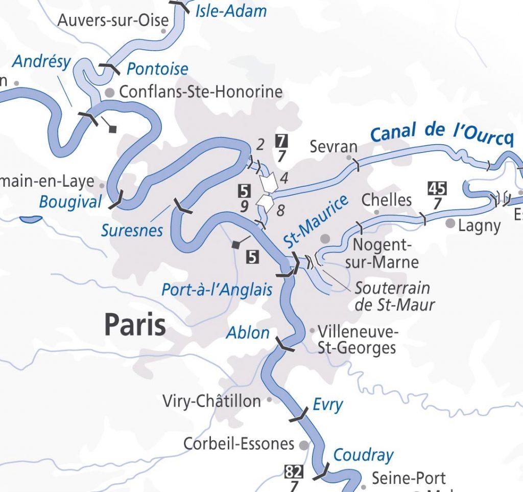 Mapa del rio sena